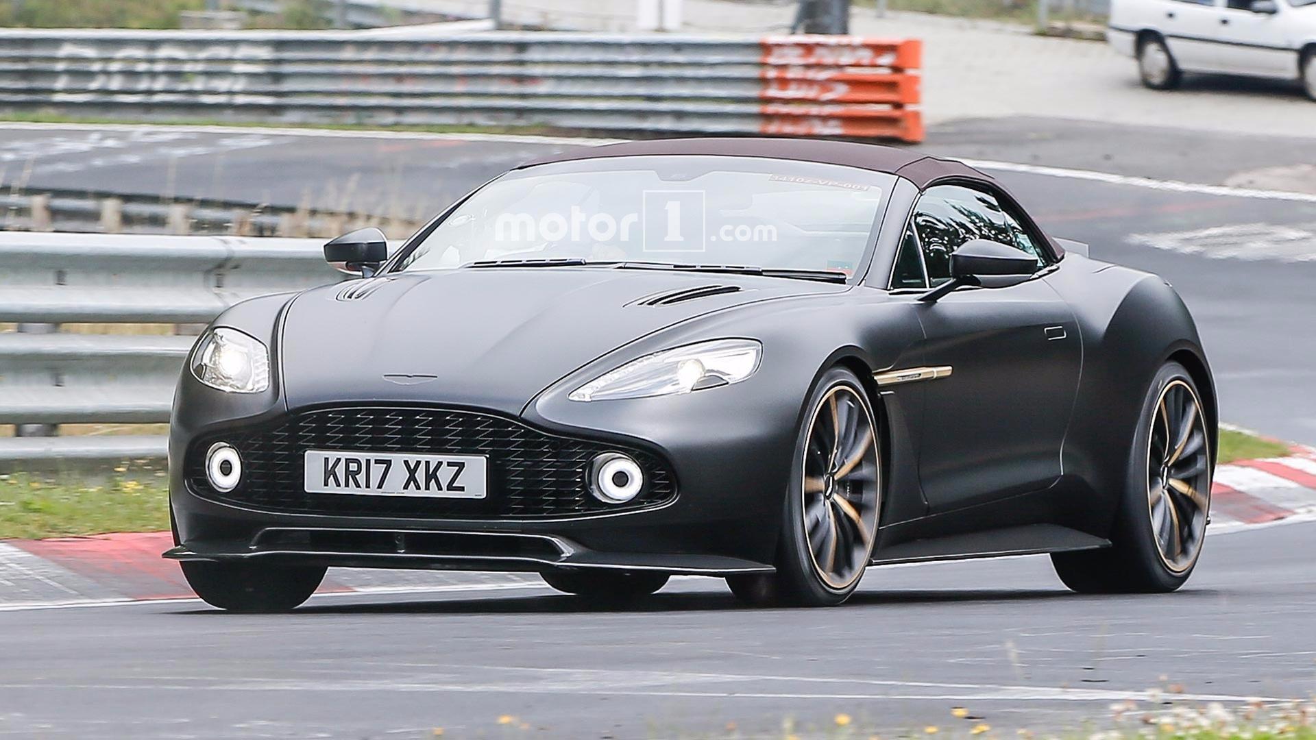 Aston Martin Vanquish Zagato Volante Spied In Elegant Satin Black - Aston martin vanquish black
