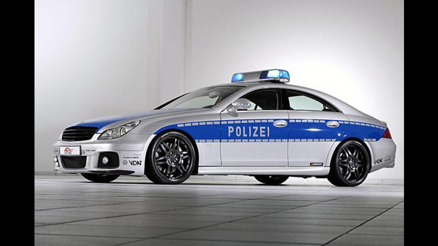 Polizeifahrzeug wirbt für Sicherheit bei Tuningfahrzeugen