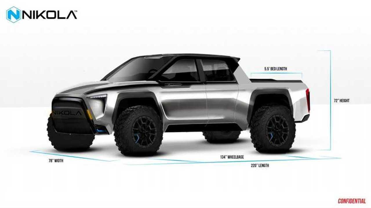 Nikola Motors electric pickup design shown by Nikola CEO Trevor Milton