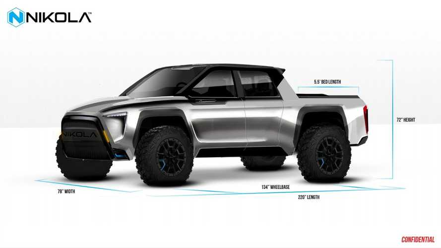 Nikola Motors electric pickup design shown by Nikola CEO Trevor Milton