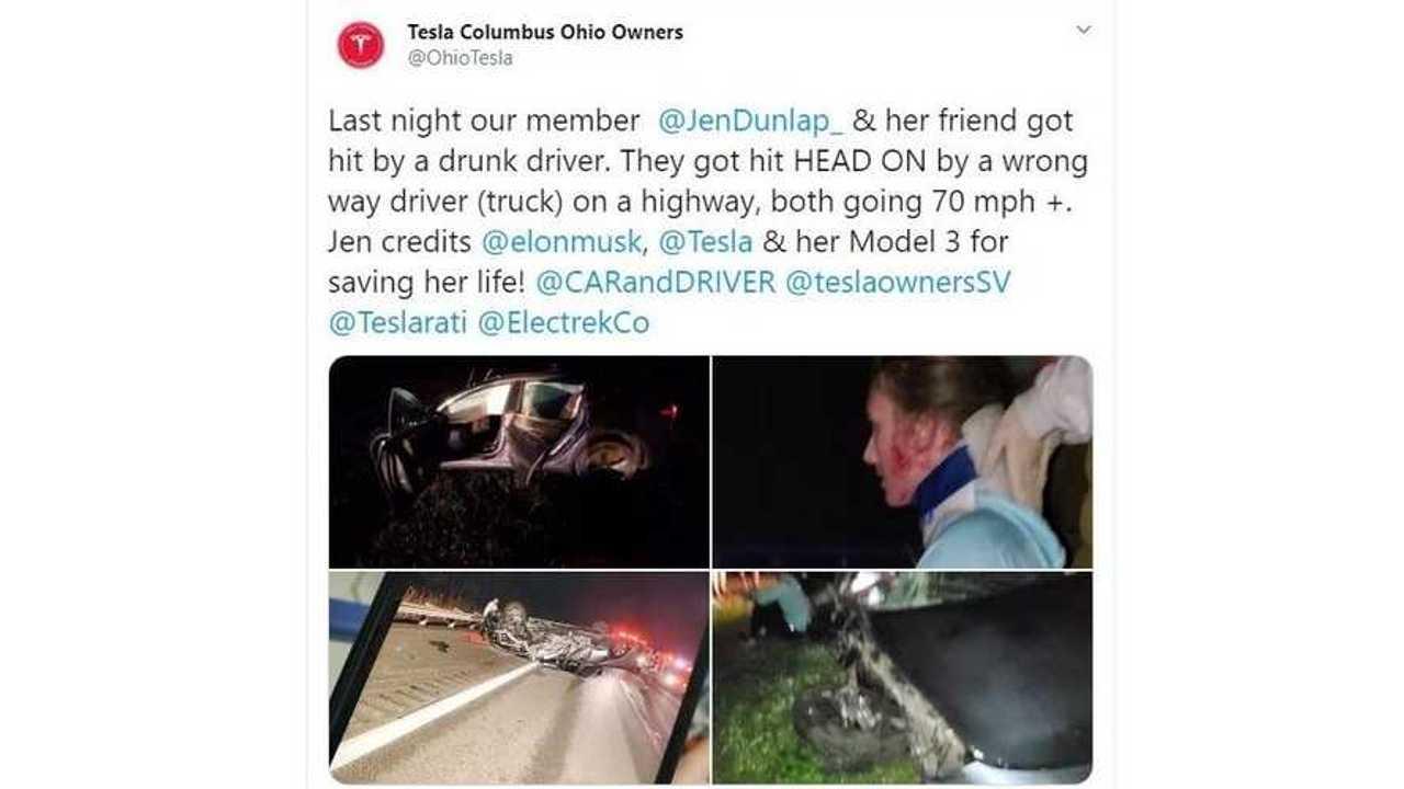tesla model 3 head on crash