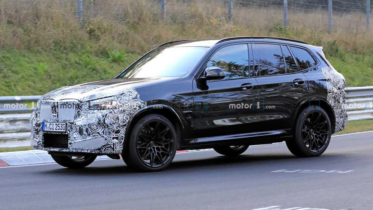 2021 BMW X3 M erstes Spion Foto (Seitenansicht)