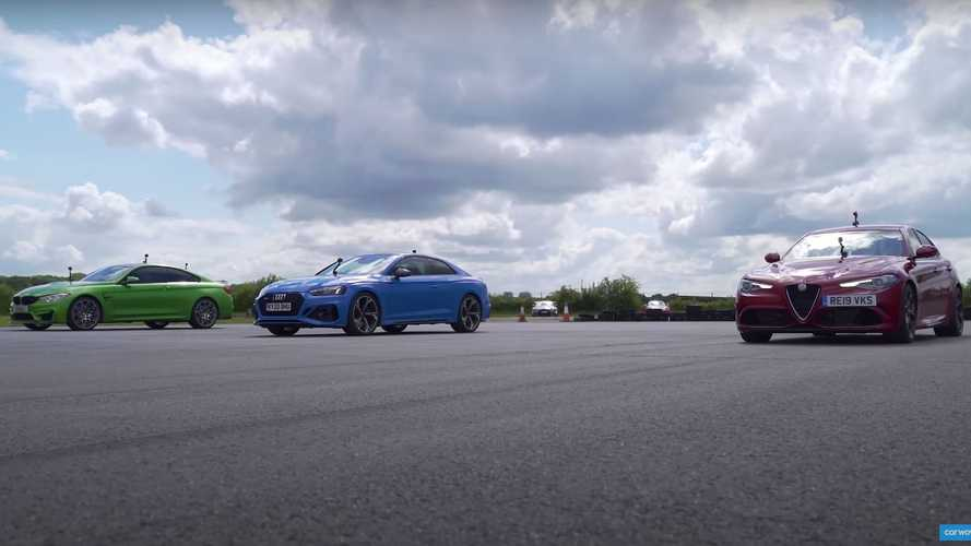 Watch a Giulia Quadrifoglio drag race an M4 and RS5