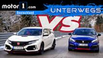 honda civic type r vs peugeot 308 gti test video