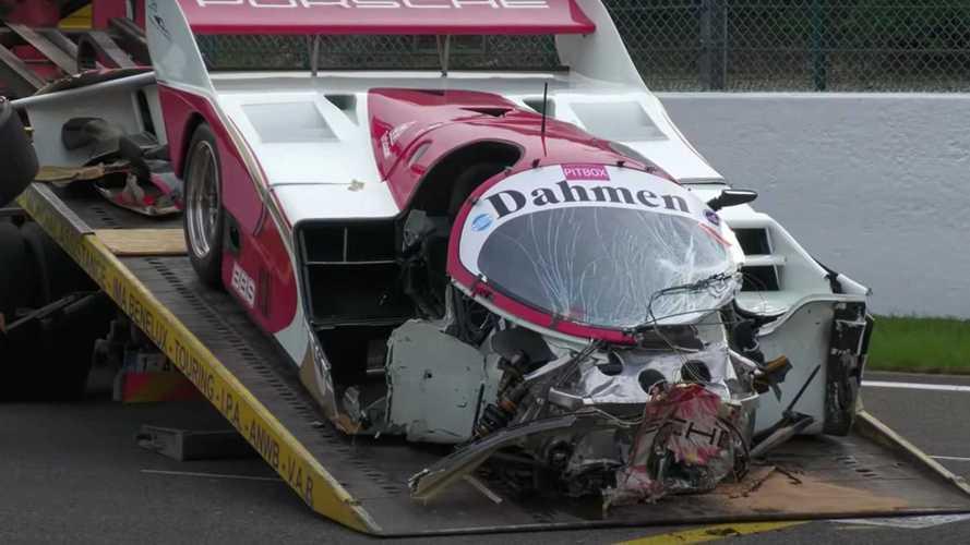 ¡Así ha quedado un Porsche 962 C tras un accidente!