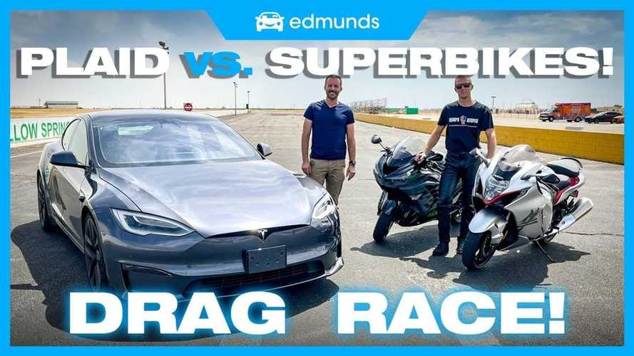 Tesla Model S Plaid, Hayabusa ve Kawasaki ZX-14R ile yarışıyor!