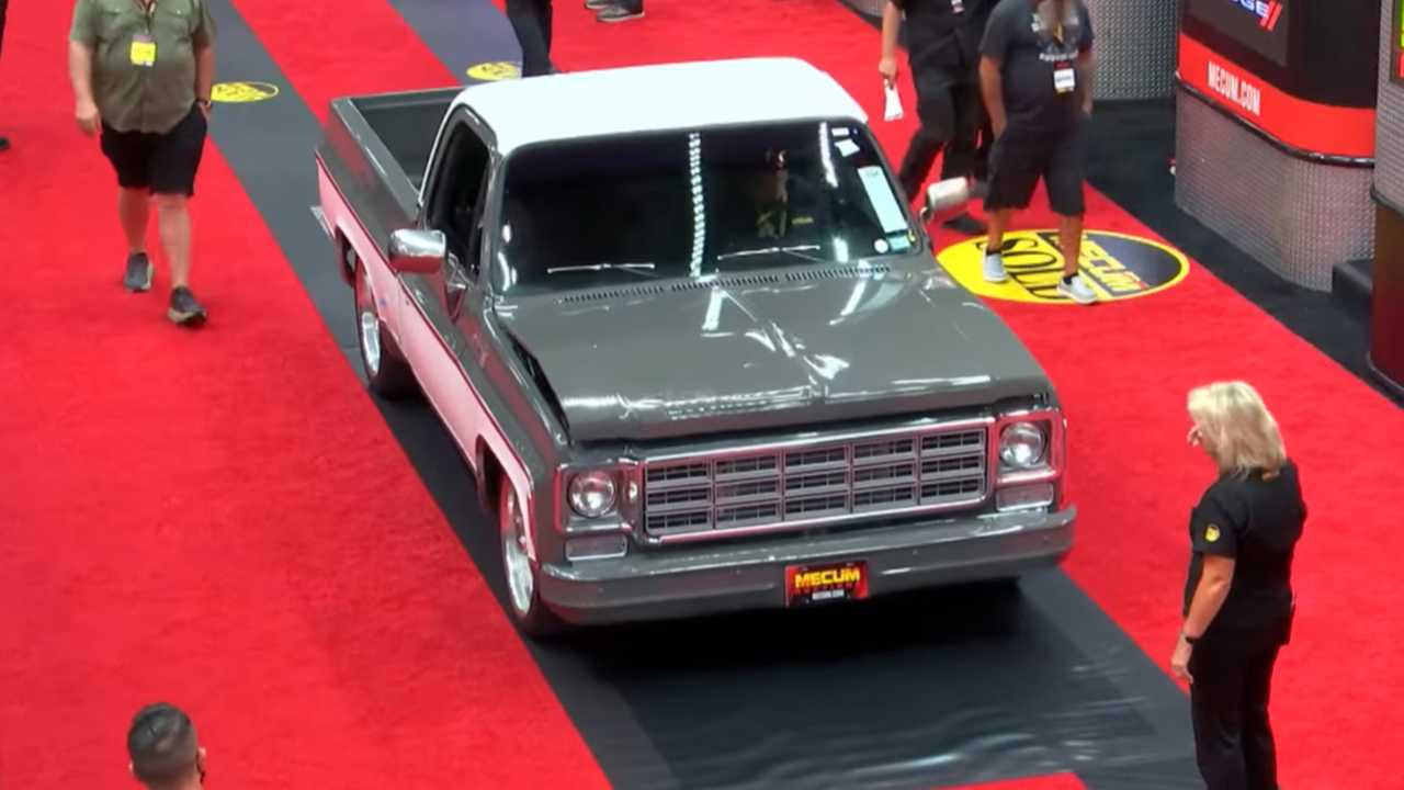 Screenshot of the damaged Chevy C10 pickup at Mecum's Dallas 2021 auction.