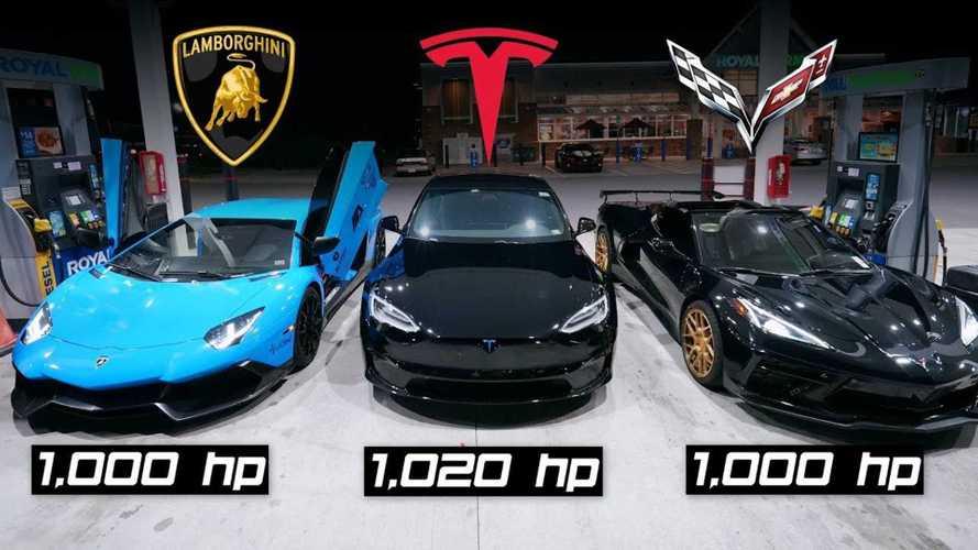 Tesla Plaid Slays 1,000-HP Lamborghini And C8 Corvette