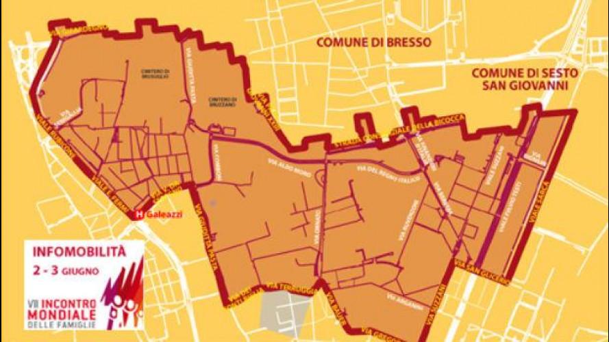 Blocco del traffico a Milano per l'arrivo del Papa sabato 2 e domenica 3 giugno