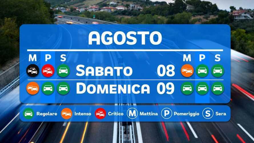 Le previsioni del traffico per il weekend 8 e 9 agosto