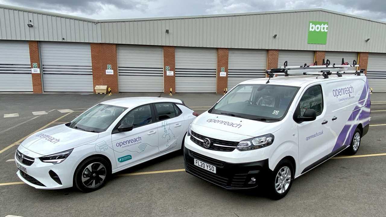 Vauxhall Corsa-e and Vivaro-e van in Openreach fleet