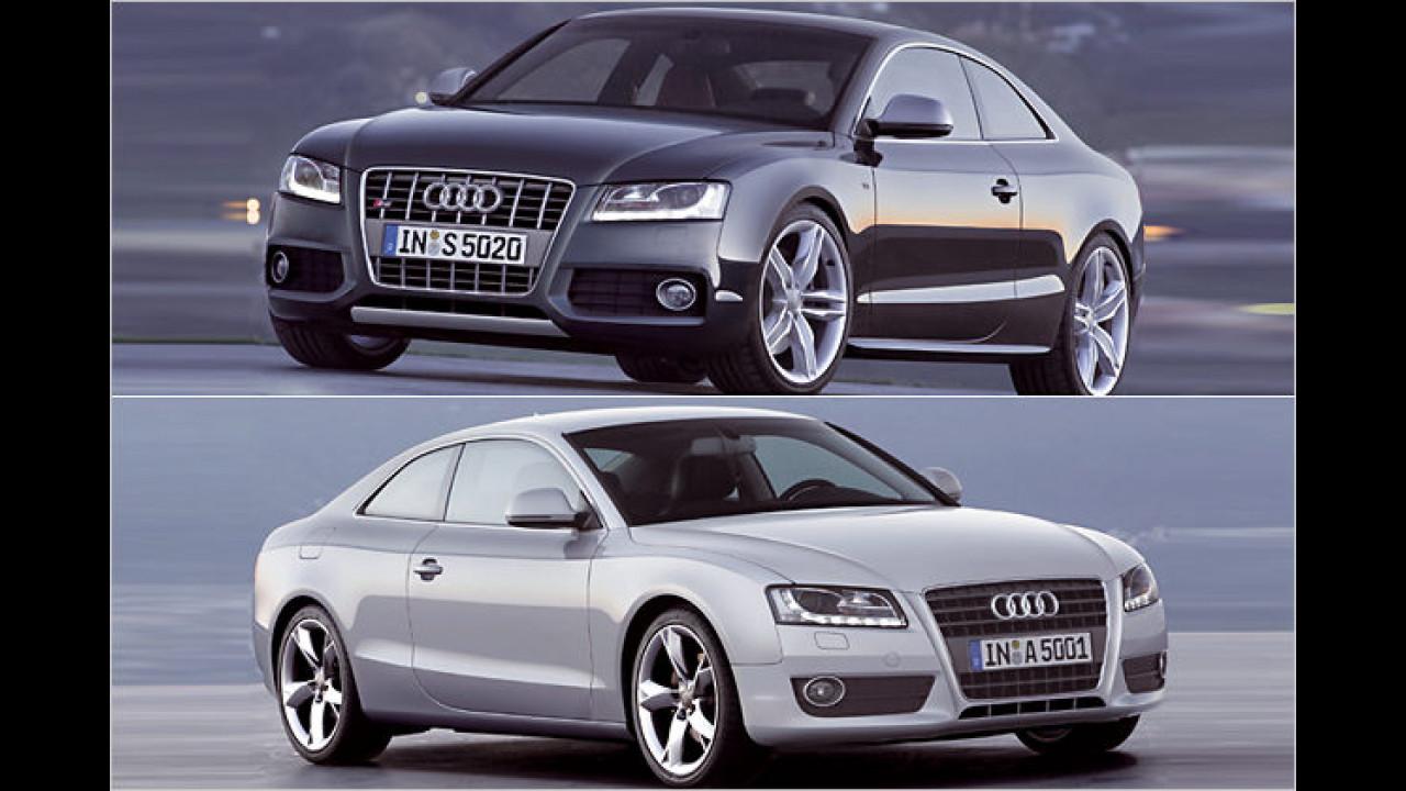 Das Sportcoupé Audi A5 (unten) ließ sich 2007 in Genf feiern. Mit dabei: Die noch sportlichere Variante S5 (oben)