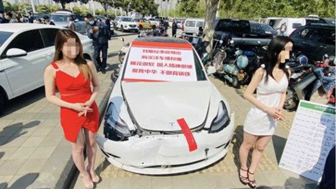 tesla china protest