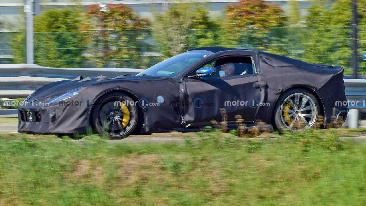 Ferrari 812 GTO spied from front three quarters
