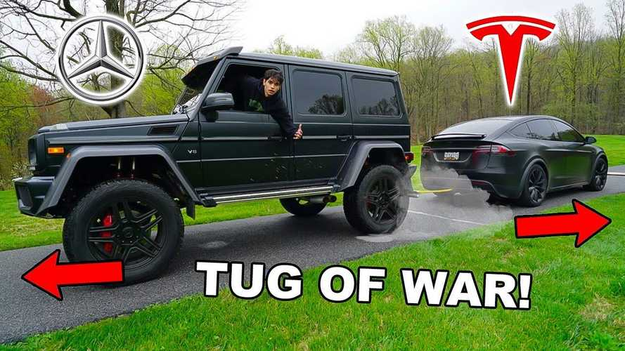 Watch tug of war: Tesla Model X vs Mercedes G550 4x4 Squared