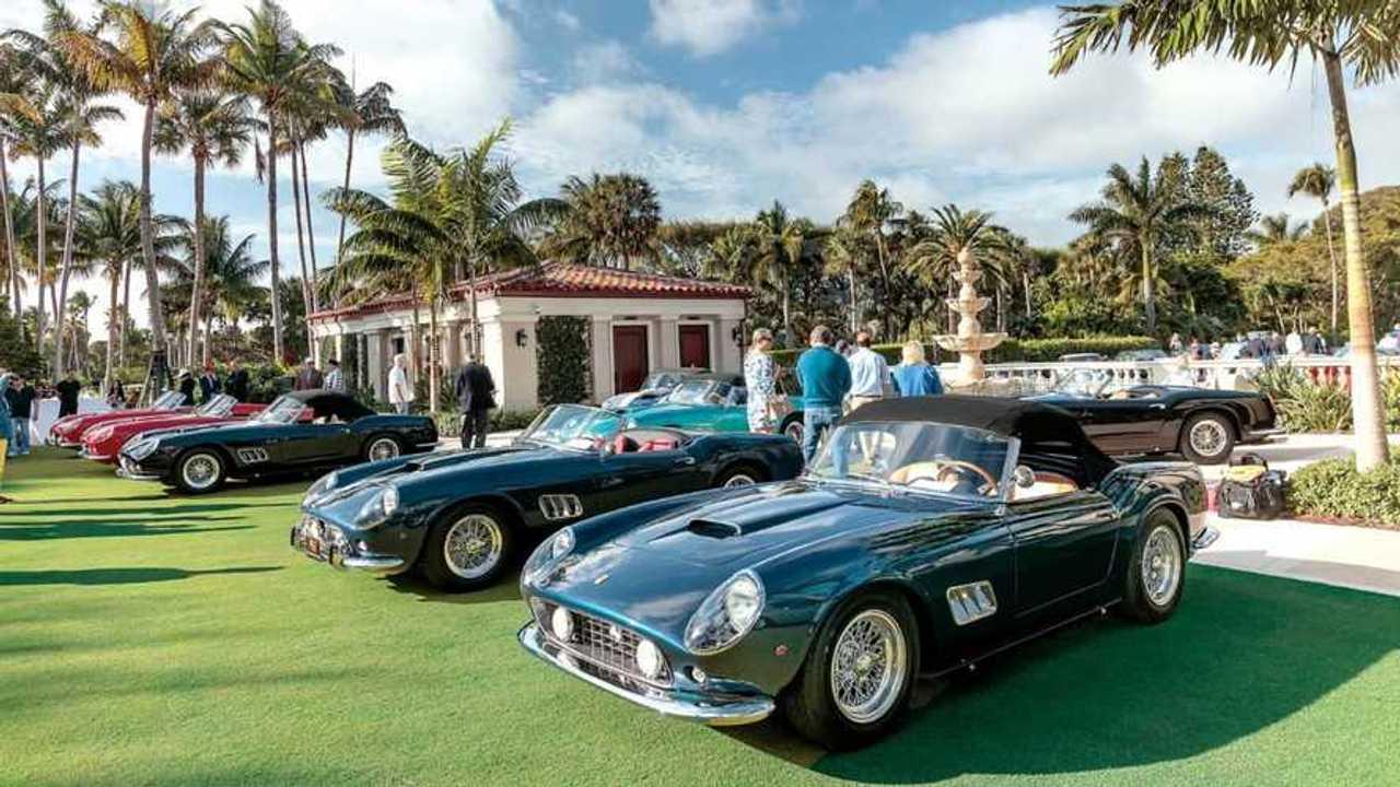 A lineup of classic Ferraris.