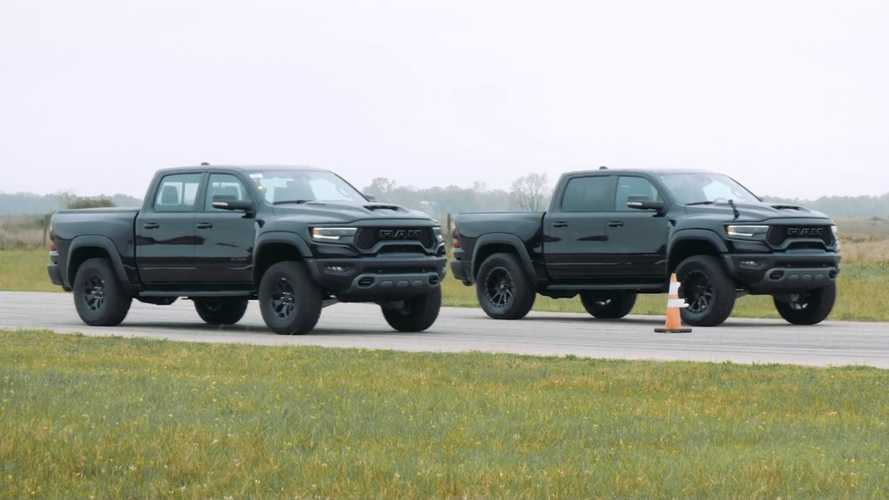 Watch Hennessey Pit Its Mammoth 900 Against Stock Ram TRX In Drag Race