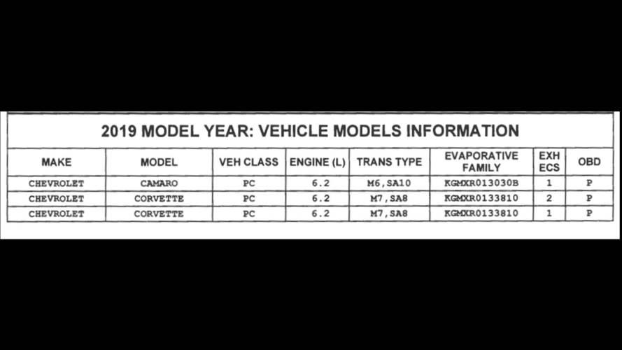 2019 Chevy Camaro CARB Filing