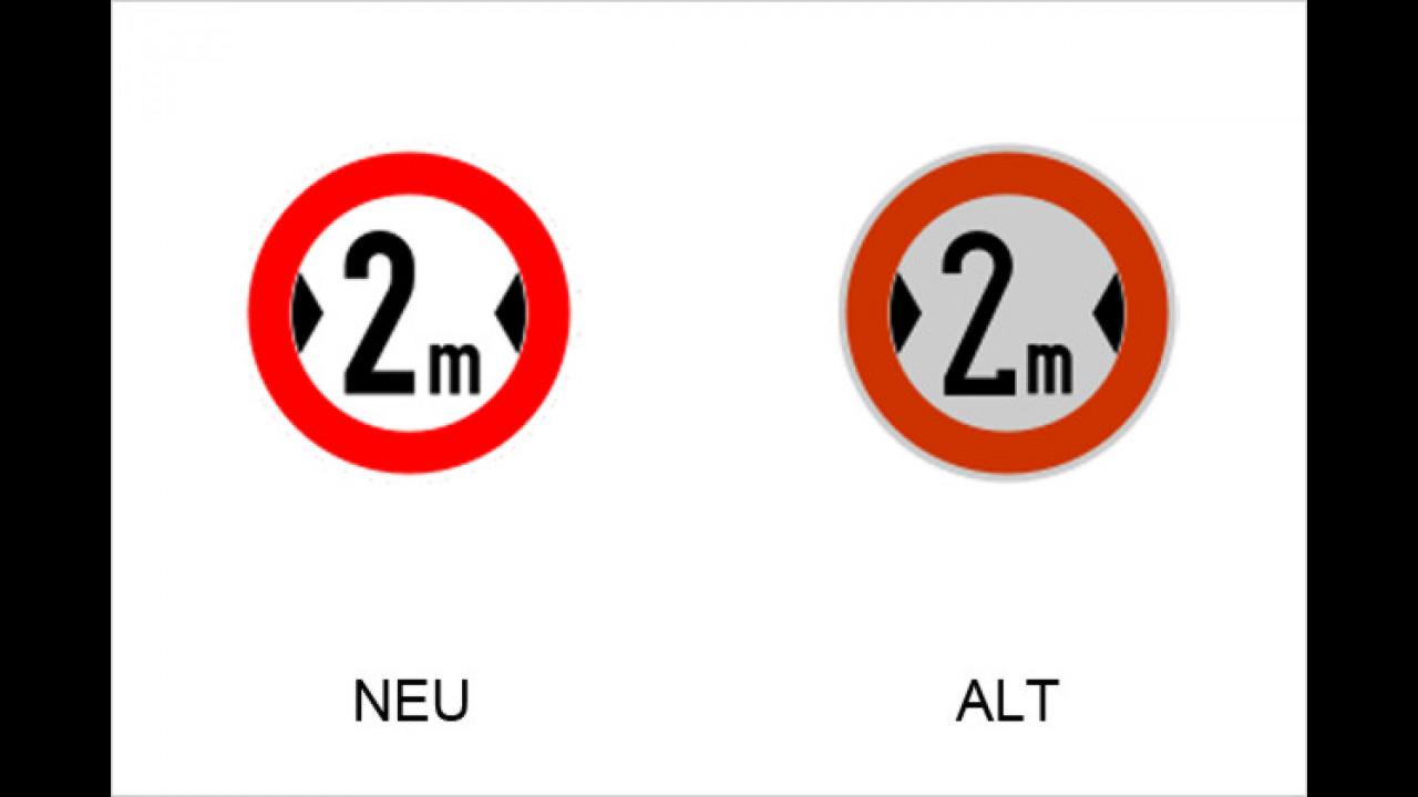 Verbot für Fahrzeuge über angegebene Breite einschließlich Ladung