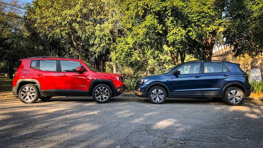 Jeep Renegade e VW T-Cross disputam liderança entre SUVs na 1ª quinzena