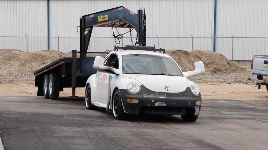 Watch A Diesel VW Beetle Dance With A Gooseneck Trailer
