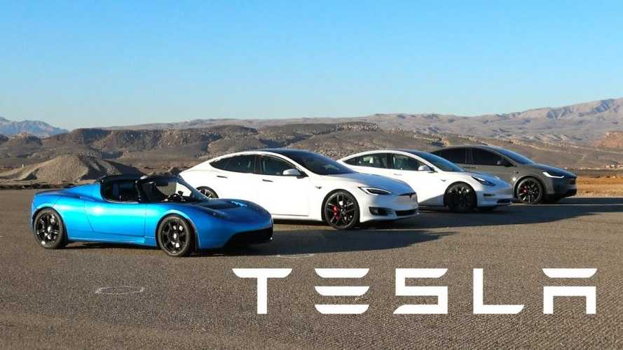 Watch World's Most Epic Tesla Race: Model S, 3, X & Roadster