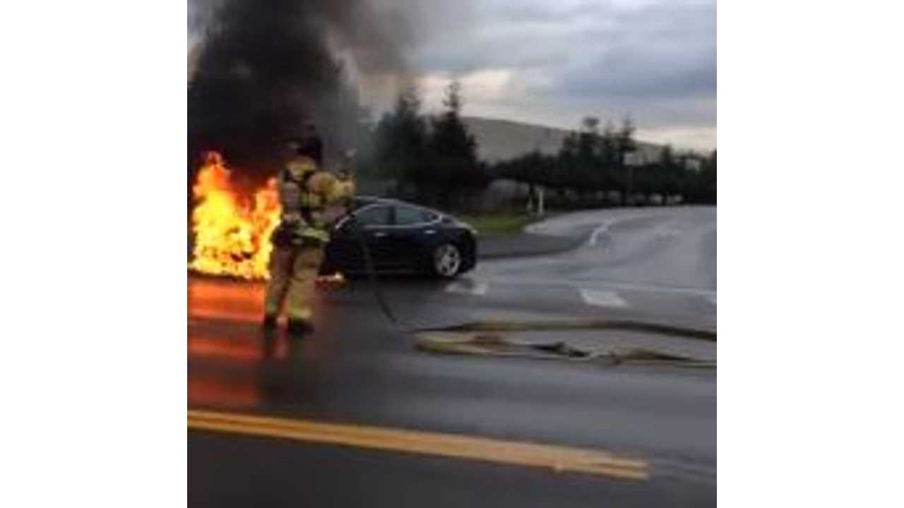 Video: Tesla Model S Goes Up in Flames After a Collision (UPDATE 2: Official Incident Report)
