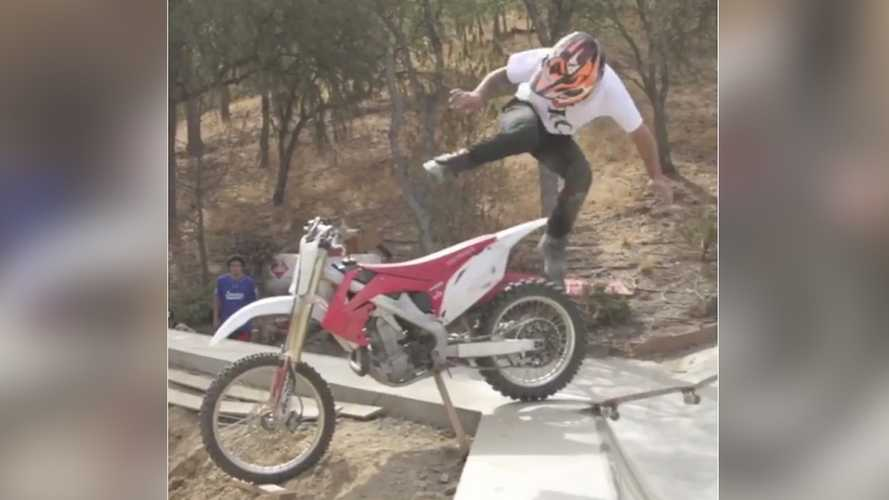 Extreme Sports Combination: Skateboarding and Dirtbiking