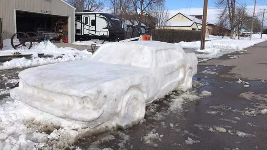 Awesome Ford Mustang Snow Sculpture Gets Pretend Tow Notice