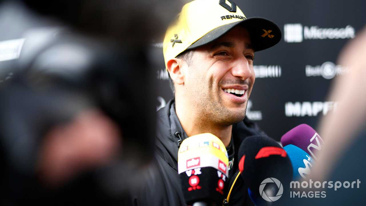 Daniel Ricciardo talks with media during Barcelona Feb 2019 testing