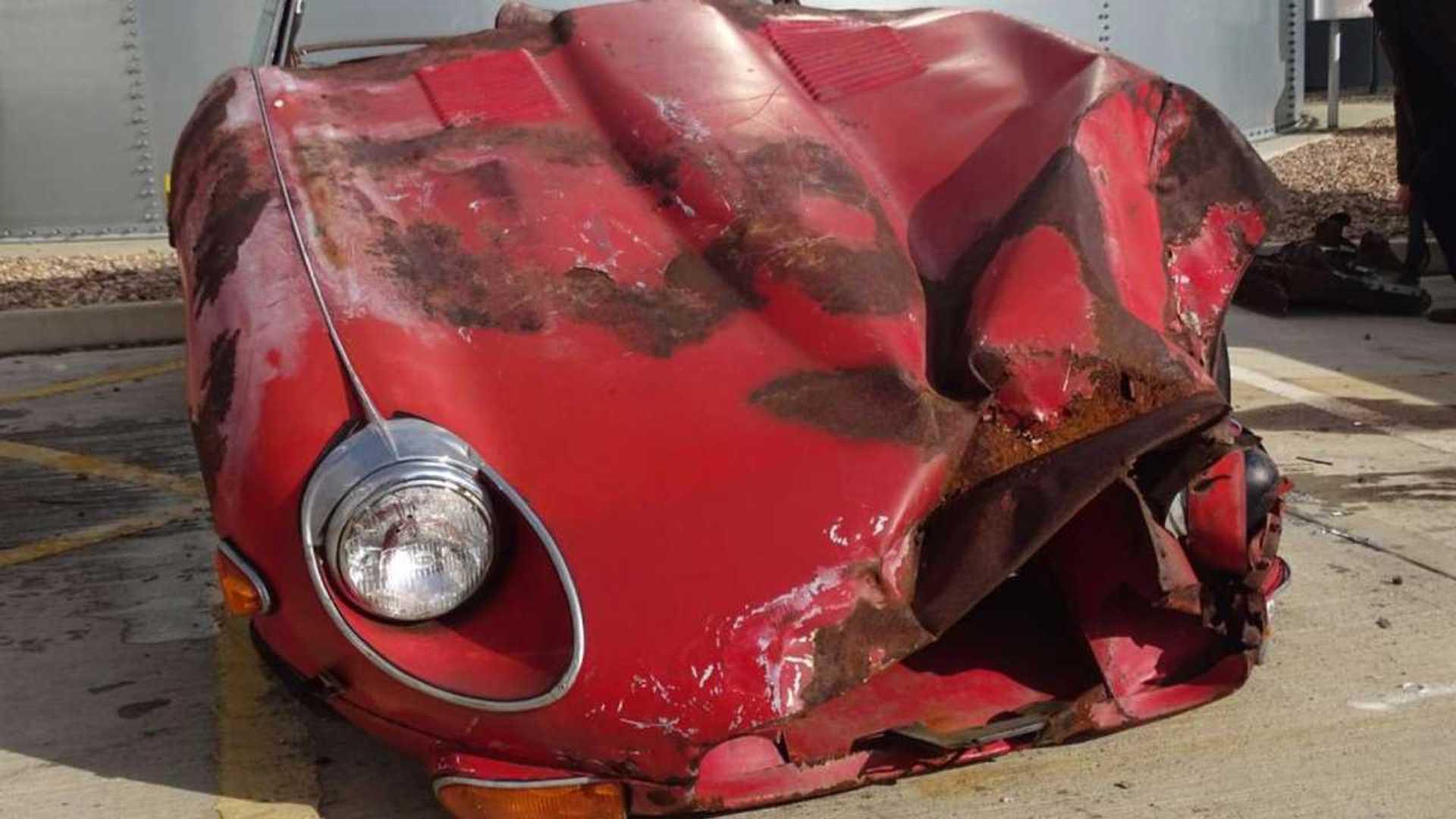 """[""""Crashed Jaguar XKE""""]"""