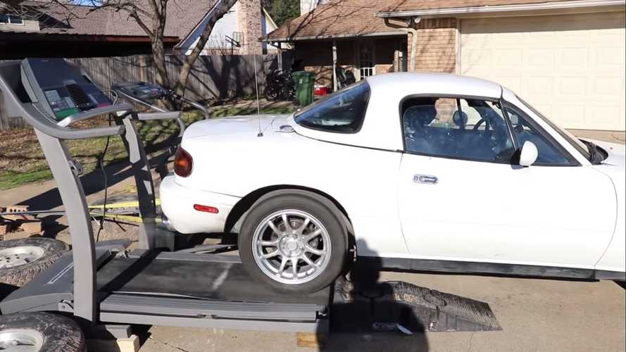 Watch A Mazda Miata On Dyno Made Of Gym Treadmills