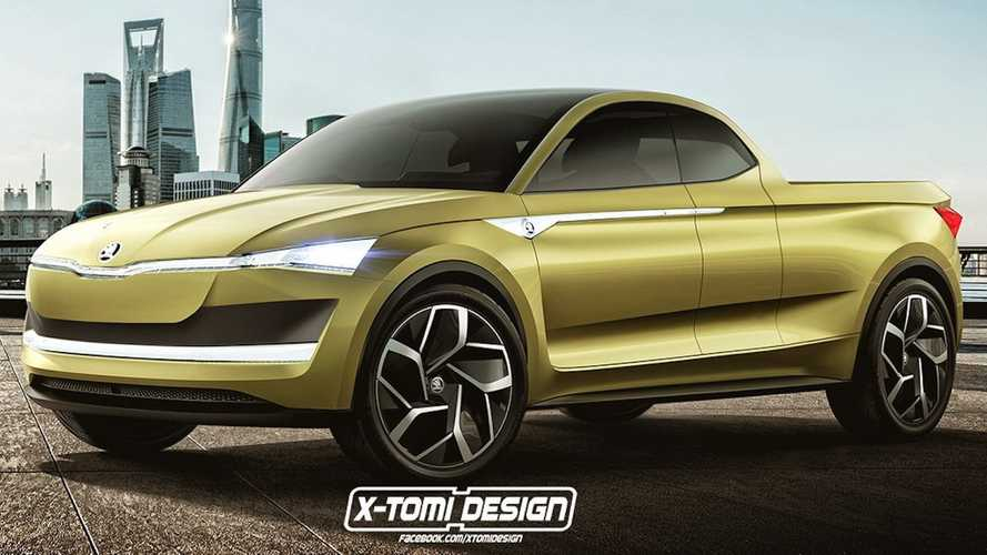 Skoda Vision E Electric Truck Rendered