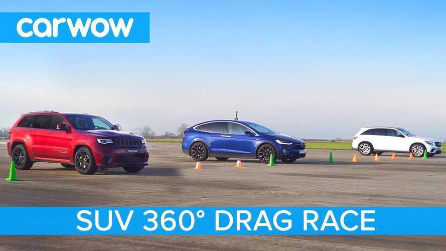 Watch Tesla Model X P100D Race Jeep Trackhawk, Mercedes AMG GLC 63