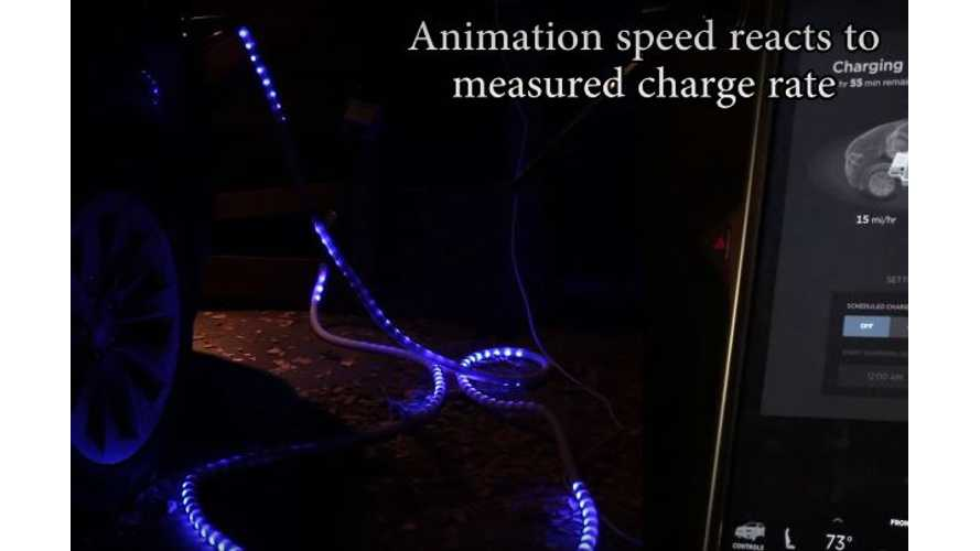 Lit Up & Animated Tesla Charging Cable Is Coolest Homemade EV Device We've Seen - Video