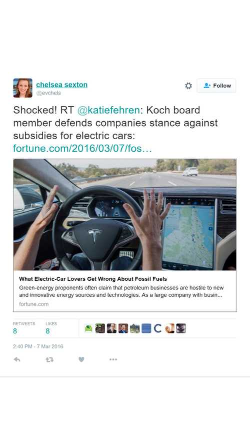 Koch Industries Board Member Defends Company's Stance Againt Electric Car Subsidies