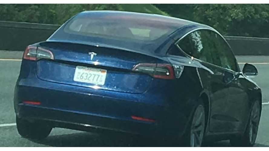 New Video Shows Blue Tesla Model 3 Driving From A Different Angle