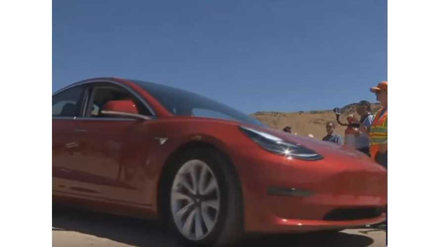 Tesla Model 3 At Ribbon Cutting Ceremony For Gigafactory's USA Parkway - Video