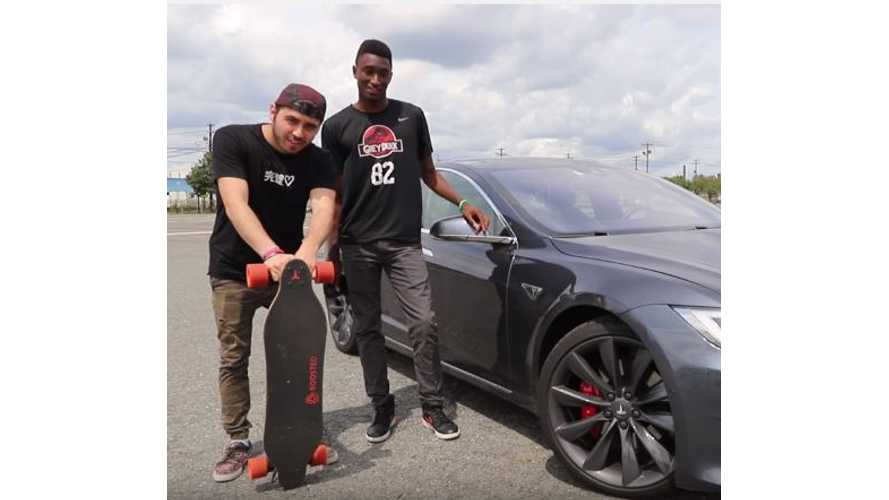 Tesla Model S Versus Boosted Board - Race Video