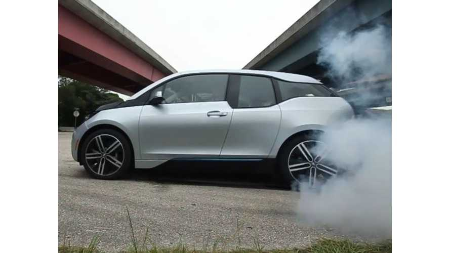 BMW i3 Does Smoky Burnout - Video