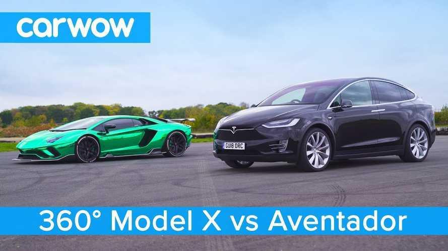 Watch Tesla Model X P100D Race Lamborghini Aventador: 360 Video