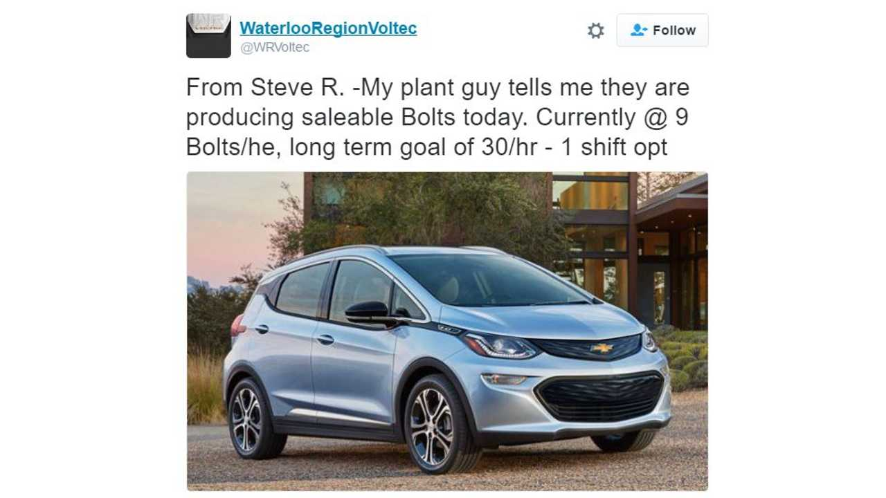 Retail Chevrolet Bolt EV production fires up (slowly) according to recent tweet (@<a href=