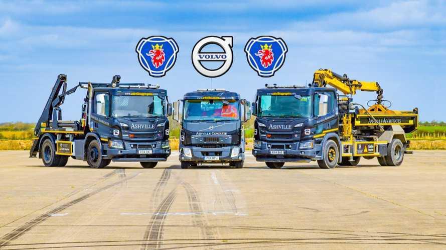 Volvo ve Scania kamyonlar kozlarını pistte paylaştı!
