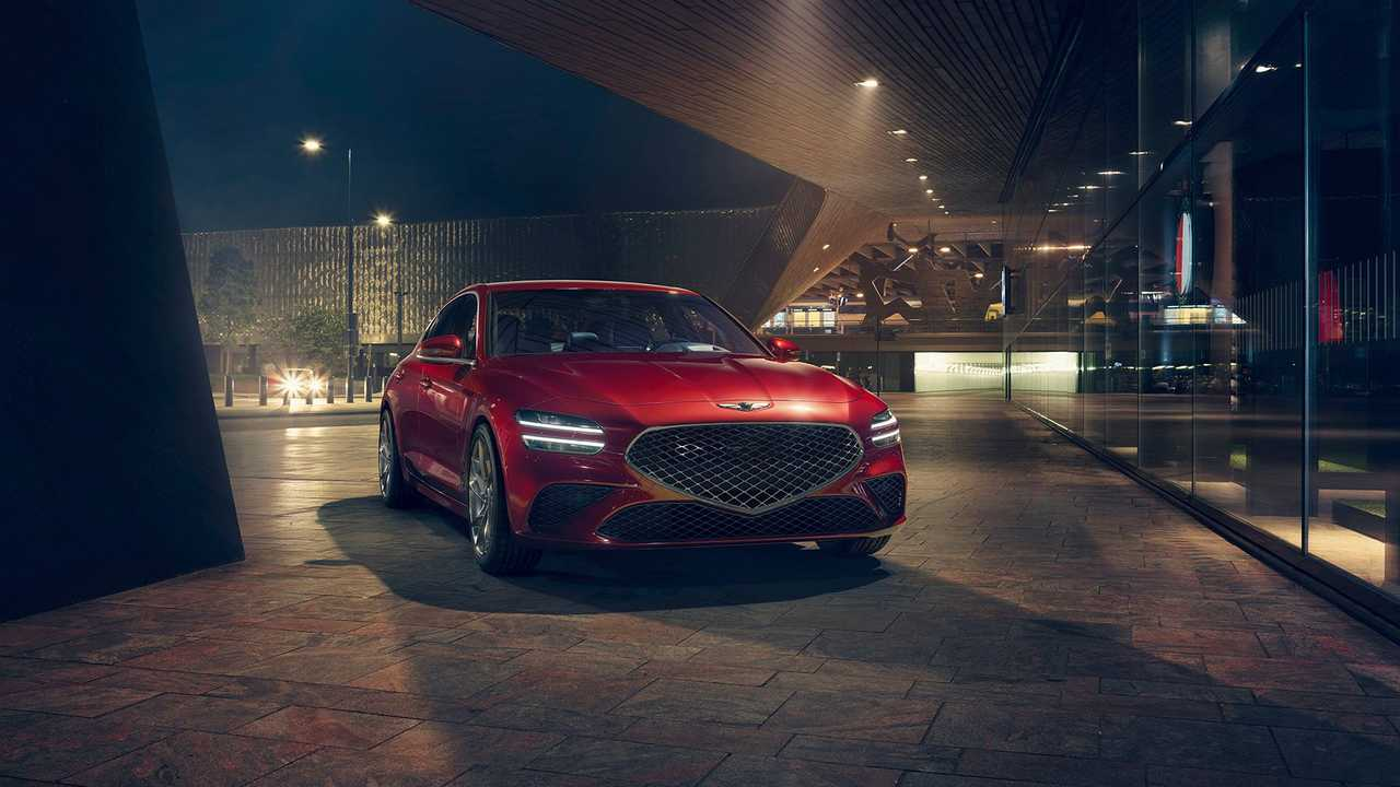 2022 Genesis G70 Frissítés Piros Parked