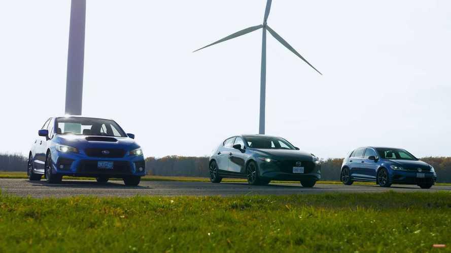 El Mazda3 AWD Turbo se enfrenta al Subaru WRX y al Volkswagen Golf R