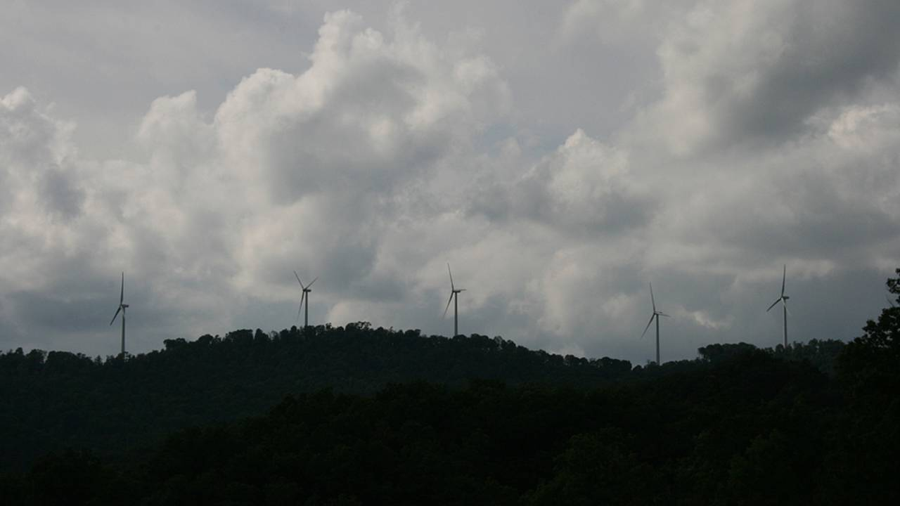 Coal mines have given way to cleaner forms of energy. Wind farms were seen on many mountain ridges.