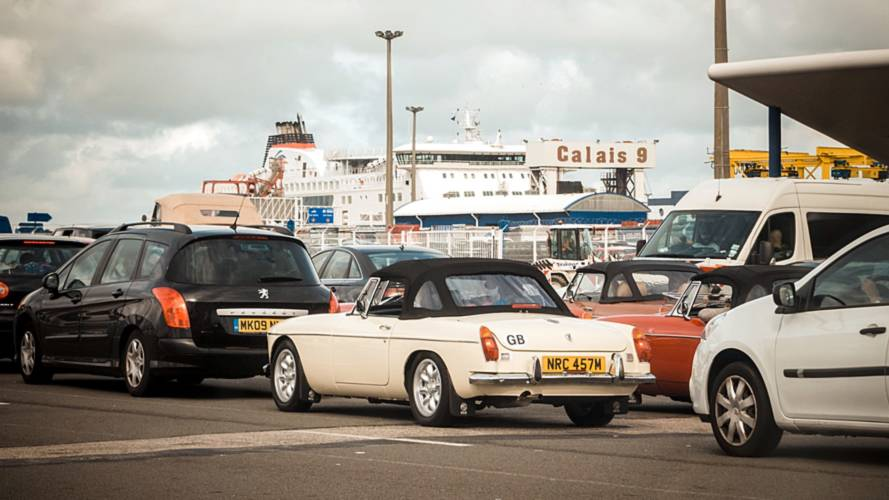 Cars queue for the ferry to Calais