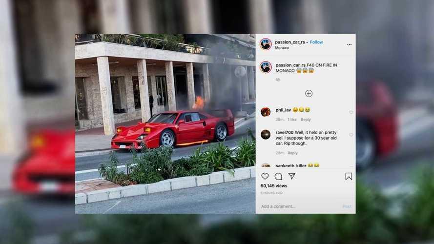 Une Ferrari F40 dévorée par les flammes à Monaco