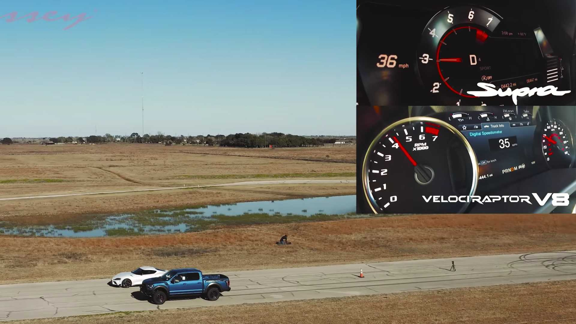 Toyota Supra And Hennessey Velocirpator V8 Race In Battle Of Unequals
