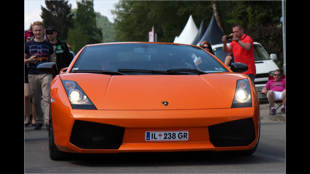 Auch die Fahrzeuge anderer Marken des VW-Konzerns – hier ein Lamborghini Gallardo – sind am Wörthersee gern gesehene Gäste.